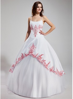 Ball-Gown Scoop Neck Floor-Length Satin Tulle Quinceanera Dress With Embroidered Ruffle Beading