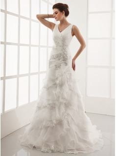 A-Line/Princess V-neck Court Train Organza Wedding Dress With Lace Beading Cascading Ruffles