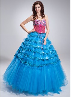 Ball-Gown Sweetheart Floor-Length Satin Tulle Sequined Quinceanera Dress With Beading