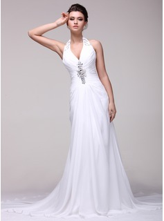 A-Line/Princess Halter Chapel Train Chiffon Wedding Dress With Ruffle Beadwork
