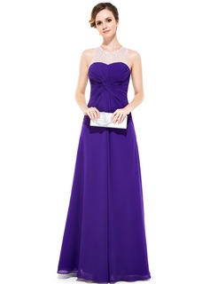 Sheath/Column Scoop Neck Floor-Length Chiffon Tulle Evening Dress With Ruffle Beading Sequins