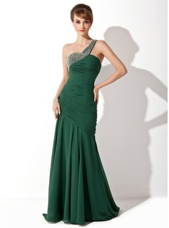 Mermaid One-Shoulder Sweep Train Chiffon Prom Dress With Ruffle Beading (018004799)