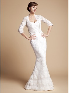 Mermaid Sweetheart Floor-Length Satin Lace Wedding Dress With Sashes (002011670)