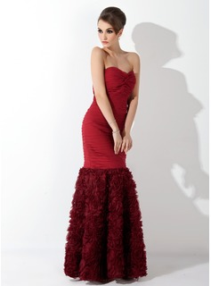 Mermaid Sweetheart Floor-Length Chiffon Evening Dress With Ruffle (017025910)