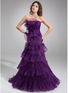 A-Line/Princess Strapless Sweep Train Organza Prom Dress With Cascading Ruffles Pleated