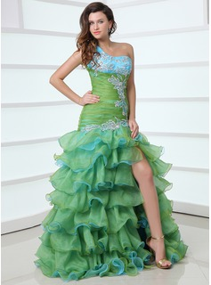 Mermaid One-Shoulder Floor-Length Organza Satin Prom Dress With Beading Appliques