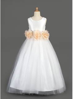 A-Line/Princess Scoop Neck Floor-Length Taffeta Tulle Flower Girl Dress With Sash Flower(s)