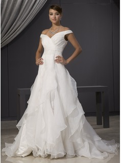 A-Line/Princess Off-the-Shoulder Chapel Train Organza Wedding Dress With Ruffle Lace Beadwork (002014481)