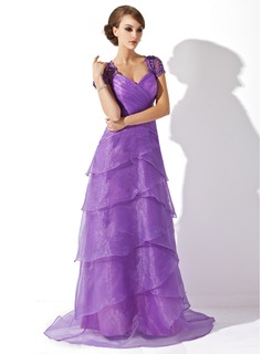 A-Line/Princess V-neck Sweep Train Organza Tulle Mother of the Bride Dress With Ruffle Lace Beading Sequins