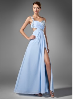 A-Line/Princess One-Shoulder Floor-Length Chiffon Prom Dress With Ruffle Beading Sequins