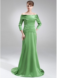 A-Line/Princess Off-the-Shoulder Court Train Charmeuse Mother of the Bride Dress With Ruffle