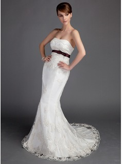 Mermaid Sweetheart Court Train Satin Lace Wedding Dress With Sash Beadwork