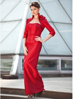 Sheath/Column Sweetheart Floor-Length Taffeta Mother of the Bride Dress With Bow(s)