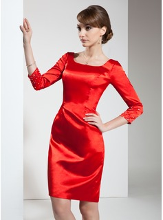 Sheath Square Neckline Knee-Length Charmeuse Cocktail Dress With Beading