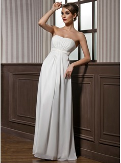 Empire Strapless Floor-Length Chiffon Charmeuse Bridesmaid Dress With Ruffle Beading