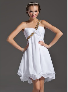 Empire One-Shoulder Short/Mini Chiffon Homecoming Dress With Ruffle Beading Appliques Sequins