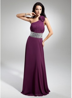 A-Line/Princess One-Shoulder Floor-Length Chiffon Evening Dress With Ruffle Beading Flower(s) (017014886)