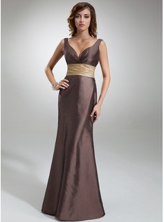 Mermaid V-neck Floor-Length Taffeta Bridesmaid Dress With Ruffle Sash