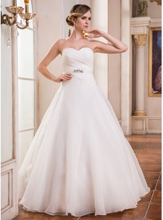Ball-Gown Sweetheart Floor-Length Organza Charmeuse Wedding Dress With Ruffle Beading