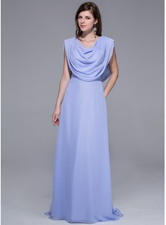 Sheath Sweep Train Chiffon Evening Dress