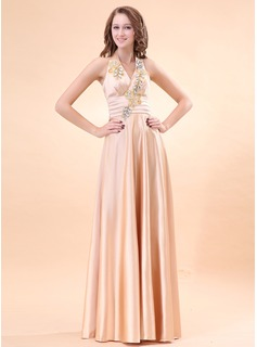 A-Line/Princess Halter Floor-Length Charmeuse Evening Dress With Ruffle Beading