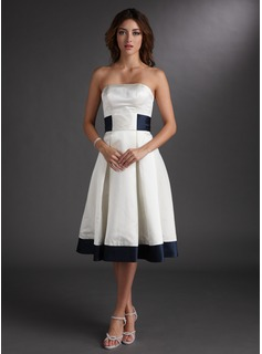 A-Line/Princess Strapless Knee-Length Satin Wedding Dress With Sashes (002000067)