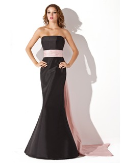 Mermaid Strapless Floor-Length Taffeta Bridesmaid Dress With Sash