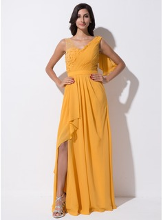 A-Line/Princess V-neck Floor-Length Chiffon Tulle Evening Dress With Beading Flower(s) Sequins Split Front Cascading Ruffles