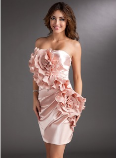 Sheath Strapless Short/Mini Charmeuse Cocktail Dress With Ruffle Beading Flower(s)
