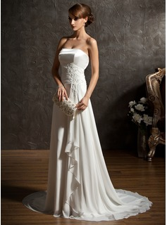 A-Line/Princess Sweetheart Sweep Train Chiffon Charmeuse Wedding Dress With Ruffle Lace Beadwork Sequins