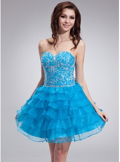 A-Line/Princess Sweetheart Knee-Length Organza Satin Homecoming Dress With Embroidered Beading Cascading Ruffles