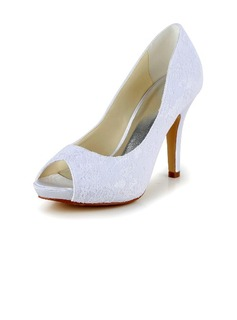 Women's Lace Stiletto Heel Peep Toe Pumps (047040231)