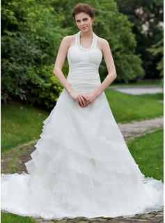 A-Line/Princess Halter Cathedral Train Organza Wedding Dress With Beading Cascading Ruffles