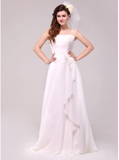 A-Line/Princess Floor-Length Chiffon Wedding Dress With Beading Appliques Lace Cascading Ruffles
