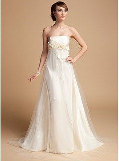 Empire Strapless Sweep Train Satin Tulle Wedding Dress With Flower(s) (002014723)