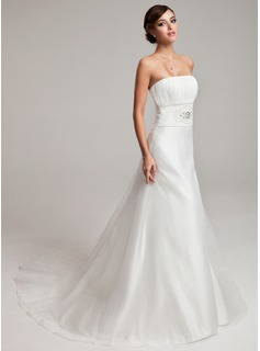 A-Line/Princess Strapless Chapel Train Organza Wedding Dress With Ruffle Beadwork (002001245)