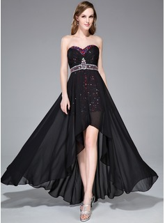 A-Line/Princess Sweetheart Asymmetrical Chiffon Sequined Prom Dress With Beading