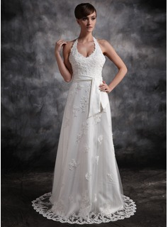 A-Line/Princess Halter Court Train Satin Tulle Wedding Dress With Lace Beadwork (002016896)