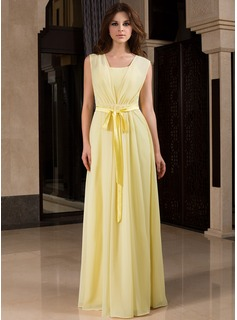 A-Line/Princess V-neck Floor-Length Chiffon Charmeuse Bridesmaid Dress With Ruffle
