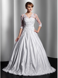 Ball-Gown V-neck Floor-Length Satin Tulle Wedding Dress With Lace Beadwork Sequins