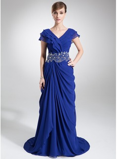 A-Line/Princess V-neck Sweep Train Chiffon Mother of the Bride Dress With Beading Cascading Ruffles