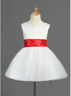 A-Line/Princess Scoop Neck Short/Mini Satin Tulle Flower Girl Dress With Sash Bow(s)