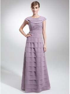 A-Line/Princess Scoop Neck Floor-Length Chiffon Mother of the Bride Dress With Cascading Ruffles