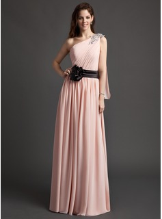 A-Line/Princess One-Shoulder Floor-Length Chiffon Charmeuse Evening Dress With Ruffle Sash Flower(s) Sequins (008015955)