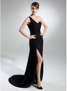 Sheath One-Shoulder Sweep Train Chiffon Evening Dress With Ruffle