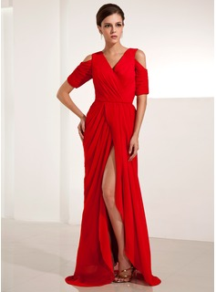 Sheath V-neck Sweep Train Chiffon Evening Dress With Ruffle (017014234)