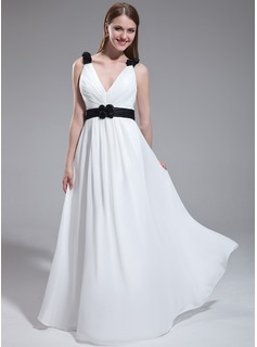 A-Line/Princess V-neck Floor-Length Chiffon Charmeuse Bridesmaid Dress With Ruffle Sash Flower(s)