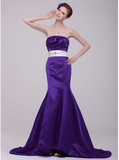 Mermaid Strapless Court Train Satin Evening Dress With Sash Beading