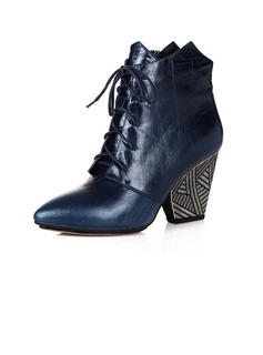 Real Leather Chunky Heel Ankle Boots With Lace-up shoes