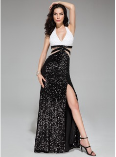 Trumpet/Mermaid Halter Sweep Train Tulle Sequined Prom Dress With Lace Beading Split Front